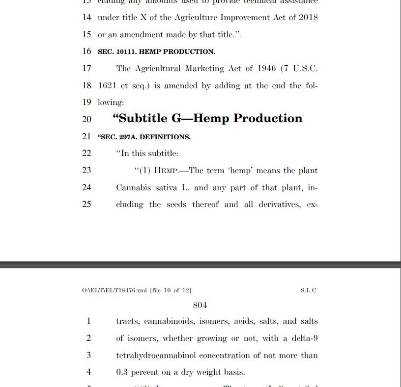 2018 Farm bill legalizing hemp and CBD in all 50 states