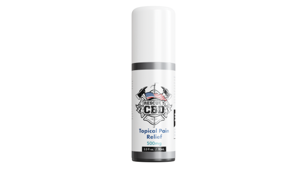 A bottle of rescue 1 topical CBD for first responders