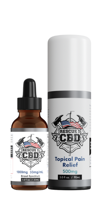A bottle of Rescue 1 CBD and topical CBD next to each other. CBD for first responders